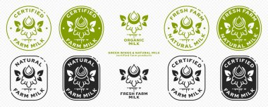 Concept for product packaging. Labeling - natural farm milk. An udder with horns and a milk drop with winged leaves - a symbol of natural products. Natural organic products. Vector set. icon