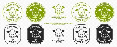 Product packaging concept. Labeling - natural farm pork. Pig head icon with leaf ears - Symbol of natural organic products. Vector set icon