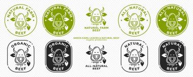 Product packaging concept. Labeling - natural farm beef. Cow head icon with leaf ears - Symbol of natural organic products. Vector set icon