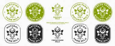 Concept for product packaging. Labeling - natural farm milk. Cow icon with milk drop and leaf-ears or leaf-wings - a symbol of a natural ingredient.. Natural organic products symbol. Vector set. icon