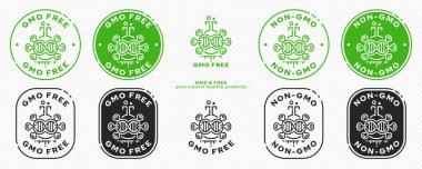 Concept for product packaging. Labeling - GMO-free. A chemical flask icon with a microorganism - a genome and a flowing ingredient line - a symbol of genetically modified organisms. Vector set. icon