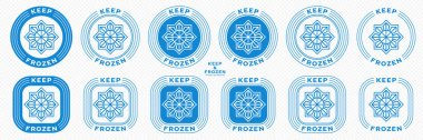 Concept for product packaging. Marking - keep frozen and frozen product. Closed snowflake icon inside ice is a symbol of cold storage of products. Vector set. icon