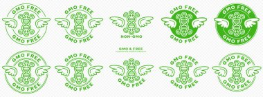 A set of conceptual stamps for packaging products. Labeling - non gmo. Stamp with a flat icon of molecule of genetically modified organism with wings - a symbol of the liberated, free. Vector grouped elements. icon
