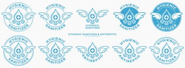 Conceptual marks for product packaging. Marking - hygienic sanitizer or antiseptic. A brand with wings and a bacteria or microbe icon - a symbol of the medical destruction of bacteria. Vector icon
