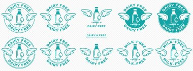 Conceptual stamps. Labeling - dairy free, milk free, no milk. The brand with the wings and the milk bottle and milk drop icon is a symbol of freedom from milk. Vector set icon