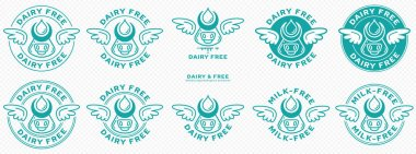 Conceptual stamps. Labeling - dairy free. The brand with the wings and cow head icon with horns and free milk drop is a symbol of freedom from milk. Vector set icon