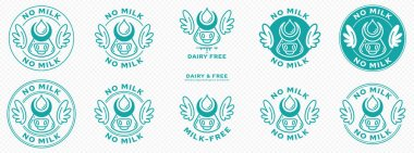 Conceptual stamps. Labeling - dairy free. The brand with the wings and cow head icon with horns and free milk drop is a symbol of freedom from milk. Vector se icon