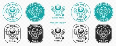 Concept for product packaging. Labeling - no milk. Cow head icon with horns, milk drop and wings - a symbol of freedom from the ingredient. Vector set. icon