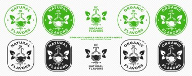 Conceptual marks for product packaging. Labeling - organic flavors. The brand with the flask icon with wings-leaves and an ingredient line is the natural flight of an ingredient. Vector icon