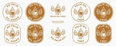 Concept for product packaging. Labeling - no palm oil. An oil palm drop with wings and a line of liquid is a symbol of freedom from the ingredient. Vector elements. icon