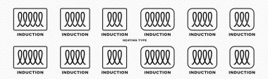 Product packaging concept. Marking is an induction type of heating. Flat induction symbol in a frame for kitchen utensils, accessories and household appliances. Vector elements. icon
