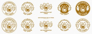 Concept for product packaging. Labeled - Saturated Fat Free. Stamp with wings and a bold drop of saturated fat - a symbol of freedom from the ingredient. Vector set. icon