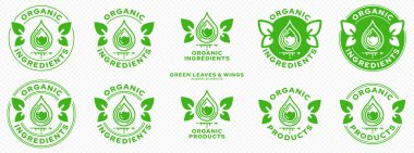 Concept for product packaging. Labeling - organic ingredients and products. Stamp with leaf-wings - a symbol of natural components floating in the product. Green infused drop of ingredient. Vector icon