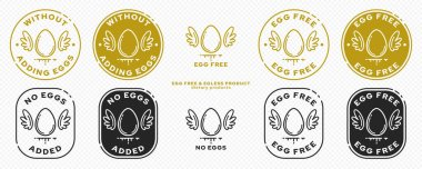 A set of conceptual stamps for packaging products. Labeling - no eggs added. Stamp with a flat icon of an egg with wings - a symbol of the liberated, free. The product is free of absorbable ingredient. Vector grouped elements. icon