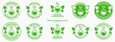 Concept for product packaging. Labeling - organic ingredients and products. Stamp with leaf-wings - a symbol of natural components floating in the product. Flask with a green ingredient. Vector icon