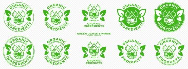 Concept for product packaging. Labeling - organic ingredients and products. Stamp with leaf-wings - a symbol of natural components floating in the product. Green drops of ingredient. Vector icon