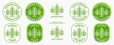 Concept for product packaging. Labeling - vegan. Plant icon with liquid line - symbol of natural products. Vector set. icon
