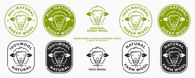 Product packaging concept. Labeling - natural farm sheep wool. Sheep head icon with leaf ears - Symbol of natural farm products. Vector set icon