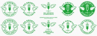 Concept for product packaging. Marking - without growth stimulants. A stamp with wings and a syringe with a drug - a symbol of freedom from growth regulators. Vector elements. icon