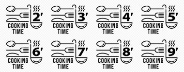 Stamps for product packaging. Recommended cooking times for pasta and other food products. Ladies and cutlery flat icon with time indicator. Vector set. icon