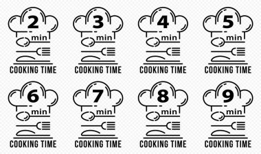 Stamps for product packaging. Recommended cooking times for pasta and other food products. Flat icon of chef caps and cutlery with time indicator. Vector set. icon