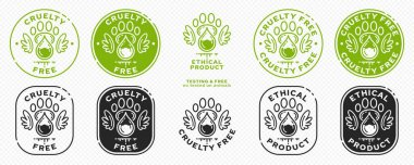 Concept for product packaging. Labeling - cruelty free and ethical product. Animal footprint icon with test drop and wings - symbol of freedom to test on animals. Vector set. icon