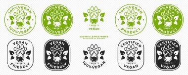 Concept for product packaging or menu. Labeling - Vegan. Animal footprint icon with test drop and wing-leaves - symbol of natural vegan ingredient. Vector set. icon