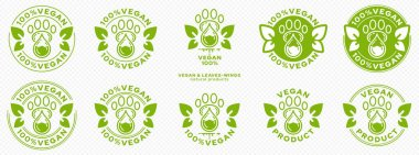 Concept for packaging. Labeling - Vegan. Animal paw icon with drop of ingredient with winged leaves is a symbol of vegan products. Vector. icon