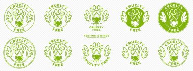 Concept for product packaging. Labeling - cruelty free. Animal footprint icon with test drop and wings - symbol of freedom to test on animals. Vector set. icon