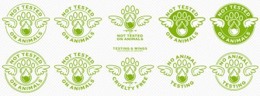 Concept for product packaging. Labeling - not tested on animals. Animal footprint icon with test drop and wings - symbol of freedom to test on animals. Vector set. icon