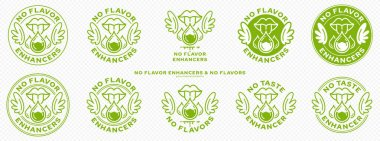 Concept for packaging. Labeling - no flavor enhancers. The mouth icon with wings and a drop of additive is a symbol of freedom from flavorings and a flavor enhancer. Vector. icon