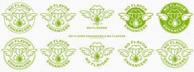 Conceptual marks for product packaging. Labeling - no flavor enhancers. The brand with wings is a symbol of the liberated, free. Ingredient drop icon with mouth - symbol of taste. Vector icon
