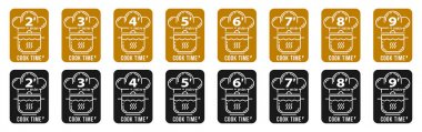 Stamps for product packaging. Recommended cooking times for pasta and other food products. Flat icon of chef caps and pans with time indicator. Vector set. icon