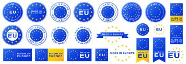 Labeling - Made in Europe. Stamps and tapes with yellow stars for packaging products and other consumer resources. Gradient-filled stickers. Information label. Vector illustration. icon