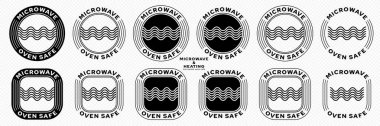 Microwaves flat linear icons set. Symbol for the safety of using cookware in a microwave oven. Label for the suitability of plastic utensils for safe heating and microwave cooking. Vector icon