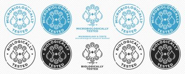 Concept for product packaging. Marking - microbiologically and biologically protected. Micromolecule with text drops. Vector elements. icon
