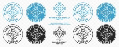 Concept for product packaging. Marking - microbiologically and biologically protected. A micromolecule in motion - as a symbol of microbiological research over a micromolecule. Vector elements. icon