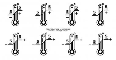 Product packaging labeling - temperature limitation. The thermometer sign with temperature values is a symbol for the storage range of the product. Vector elements. icon