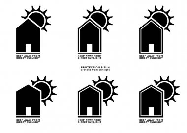 Product packaging labeling - keep away from direct sunlight. The sign of a house with a roof and the sun is a symbol of the prohibition of placing products under the sun. Vector elements. icon