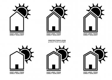 Product packaging labeling - keep away from direct sunlight. The sign of a house with a roof and the sun is a symbol of the inadmissibility of placing products under the sun. Vector elements. icon