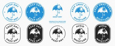 Concept product labeling - Protect from moisture or keep dry. Umbrella with drops in a round stamp. Information sticker for packaging. Vector illustration icon