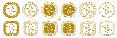 Conceptual information stamps for product packaging - no nuts. Crossed out nut icon. Vector elements. icon