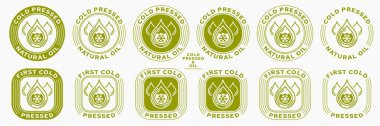 Stamp, sticker - Cold pressed natural oil. Information sign. Vector grouped elements. icon