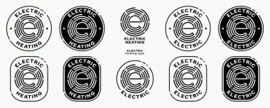 Concept for product packaging. Marking is an electric type of heating. Vector elements. Electric hotplate flat icon with the letter E in the stamp. icon