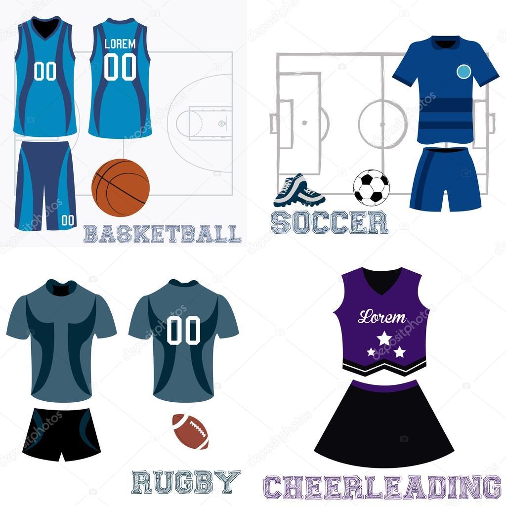d09e0215d65e7 Conjunto de uniformes deportivos y algunos elementos para diferentes  deportes - imágenes  uniforme de deporte — Vector de ...