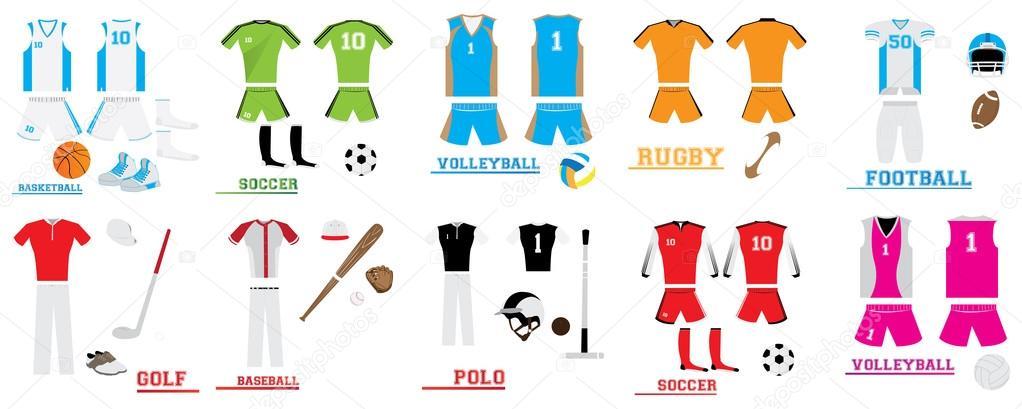 e846e1c235a4d Set de uniformes de deporte — Vector de stock
