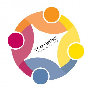 Teamwork Social Network, Group of 4 people business relationship