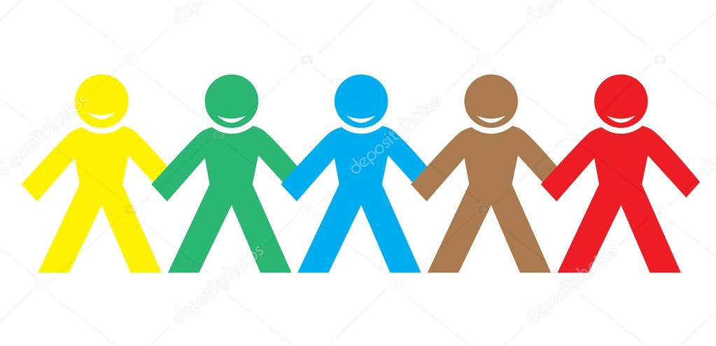 multi color happy people holding hands