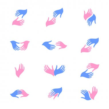 Hope or parting. Man and woman hands. Vector illustration. Logo.