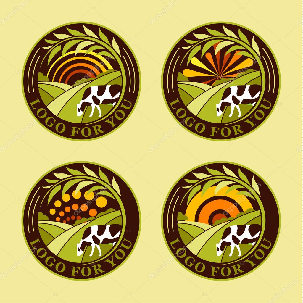 Set of round agricultural vector logos. Farm icons. Dairy products symbols. Fresh meat signs. Green meadow illistration. Nature image. Organic products. Eco label. Rural landscape.